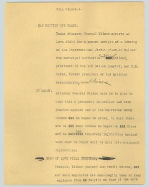 Primary view of object titled '[News Script: Will Wilson]'.