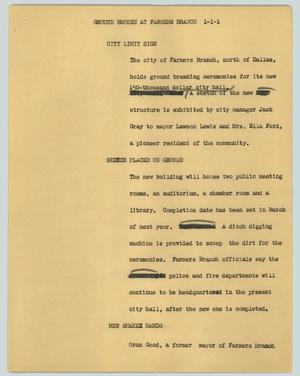 Primary view of object titled '[News Script: Ground broken at Farmers Branch]'.