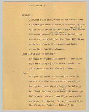Primary view of object titled '[News Script: Signe Hasso]'.