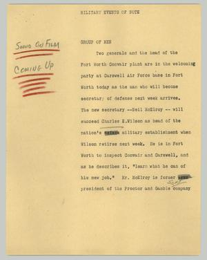 Primary view of object titled '[News Script: Military events of note]'.