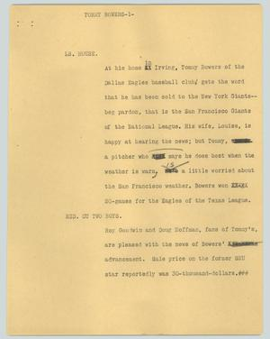 Primary view of object titled '[News Script: Tommy Bowers]'.