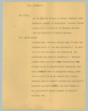 Primary view of object titled '[News Script: Govenor Johnson]'.
