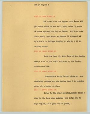 Primary view of object titled '[News Script: A&M 14 - Baylor 0]'.