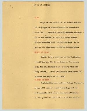 Primary view of object titled '[News Script: UN at college]'.