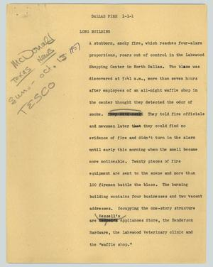 Primary view of object titled '[News Script: Lakewood Fire]'.