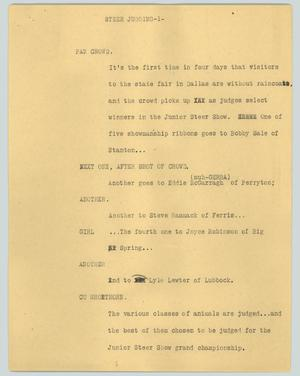 Primary view of object titled '[News Script: Steer judging]'.