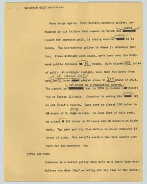 Primary view of object titled '[News Script: Marathon golf]'.
