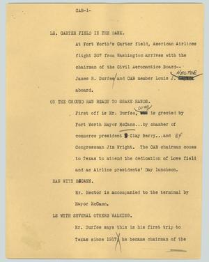 Primary view of object titled '[News Script: CAB]'.