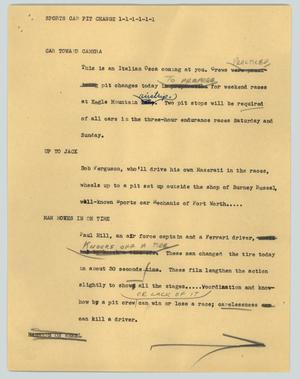 Primary view of object titled '[News Script: Sports car pit change]'.