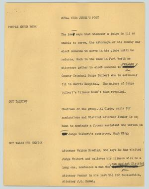 Primary view of object titled '[News Script: Duval wins judge's post]'.
