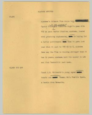 Primary view of object titled '[News Script: Alabama arrives]'.