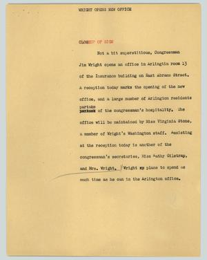 Primary view of object titled '[News Script: Wright opens new office]'.