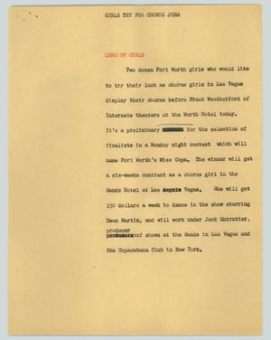 Primary view of object titled '[News Script: Girls try for chorus jobs]'.