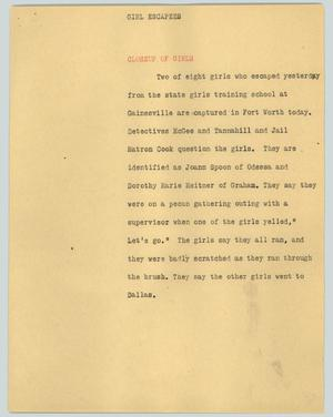Primary view of object titled '[News Script: Girl escapes]'.