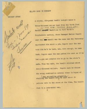 Primary view of object titled '[News Script: $3,000 loss in robbery]'.