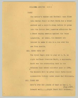 Primary view of object titled '[News Script: Oklahoma arrives]'.
