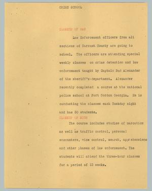 Primary view of object titled '[News Script: Crime school]'.
