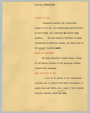 Primary view of object titled '[News Script: Hospital cornerstone]'.