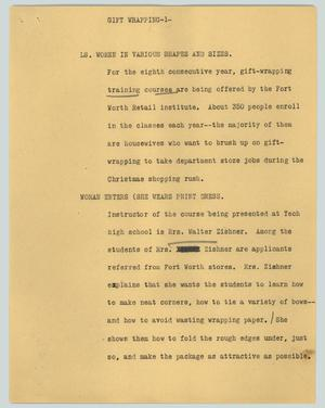 Primary view of object titled '[News Script: Gift wrapping]'.