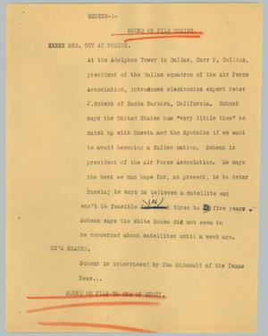 Primary view of object titled '[News Script: Schenk]'.