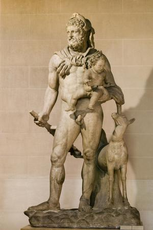 Primary view of object titled 'Herakles Carrying His Son Telephos'.