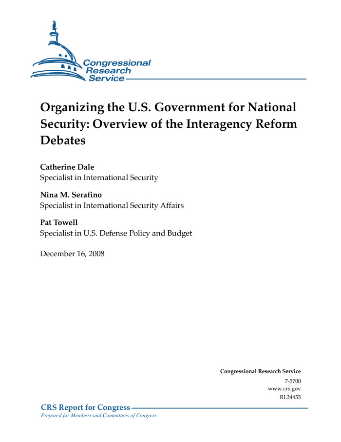 Organizing the U S  Government for National Security