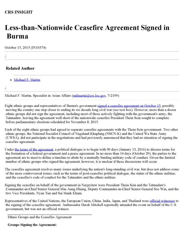 Less than nationwide ceasefire agreement signed in burma digital descriptionbookmark this section eight ethnic groups and representatives of burmas government signed a ceasefire agreement platinumwayz