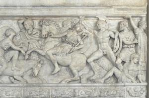 Combat between Greeks and Amazons. Sarcophagus from Thesaloniki, with wife and husband reclining on cover