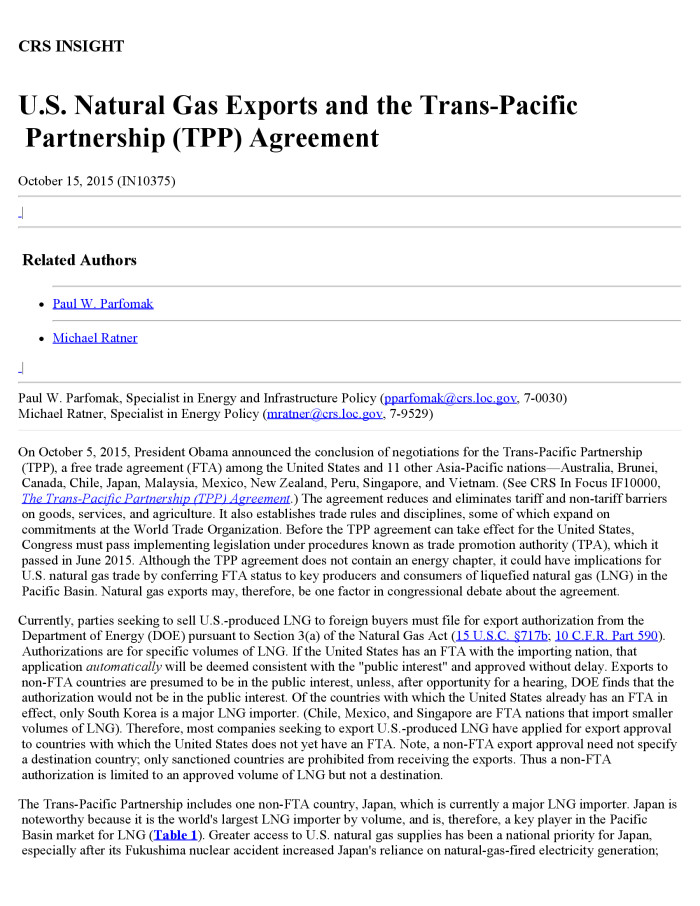 Us Natural Gas Exports And The Trans Pacific Partnership Tpp