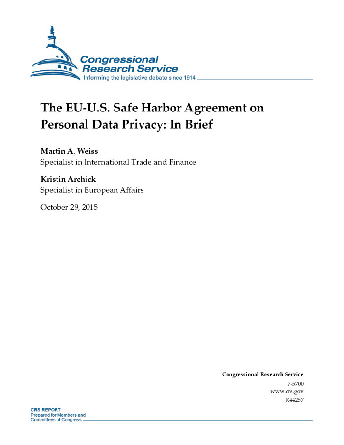 The Eu Us Safe Harbor Agreement On Personal Data Privacy In Brief