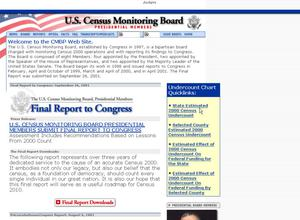 Primary view of object titled 'Welcome to the U.S. Census Monitoring Board Web Site'.