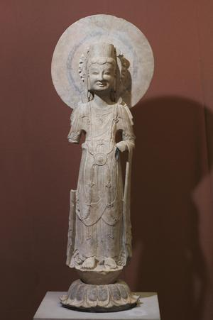 Primary view of object titled 'Bodhisattva (or Avalokiteshvara) Standing on a Lotus'.