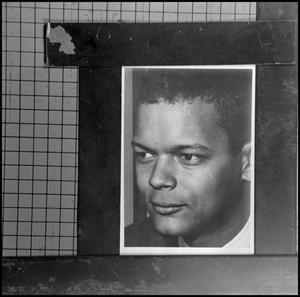 Primary view of object titled '[Photograph of Julian Bond on grid paper 3]'.