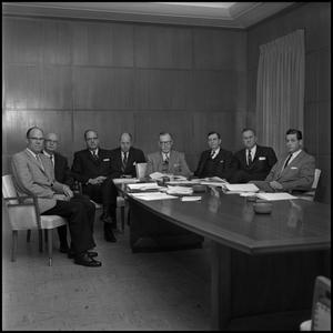 Primary view of object titled '[Board of Regents gathered at table]'.