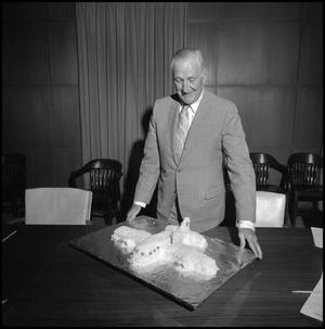 Primary view of object titled '[Board of Regents member looking at birthday cake]'.