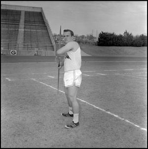 Primary view of object titled '[Calvin Bowser in javelin throwing position]'.