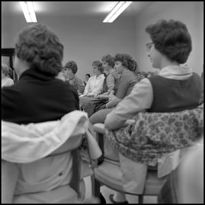 Primary view of object titled '[Junior Mary Arden Club members seated to listen to Leon Breeden]'.