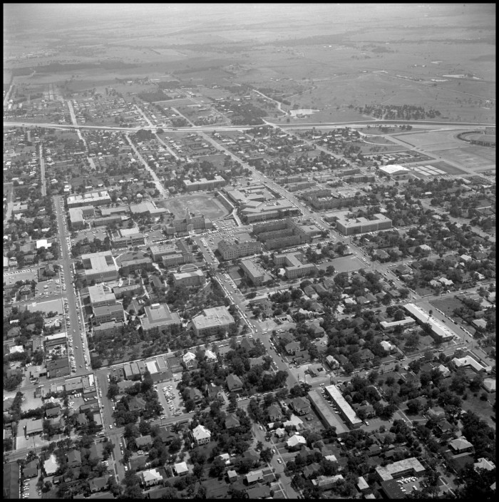 Primary view of object titled '[Aerial of NTSU campus from the northeast 2]'.