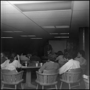Primary view of object titled '[Students gathered to listen to Professor during Black Awareness Week]'.