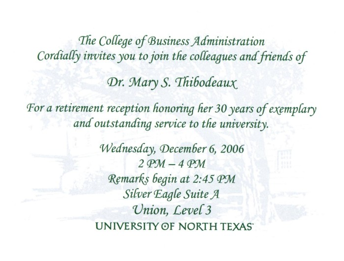 retirement reception dr mary s thibodeaux digital library