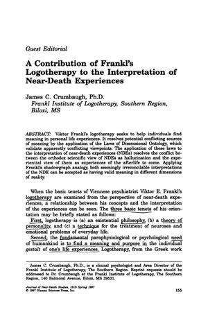 Primary view of object titled 'A Contribution of Frankl's Logotherapy to the Interpretation of Near-Death Experiences'.