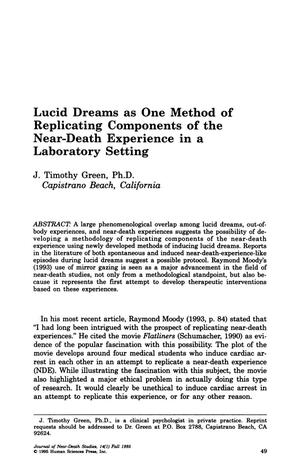 Primary view of object titled 'Lucid Dreams as One Method of Replicating Components of the Near-Death Experience in a Laboratory Setting'.