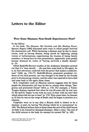 Primary view of object titled 'Letters to the Editor: Were Some Shamans Near-Death Experiencers First?'.