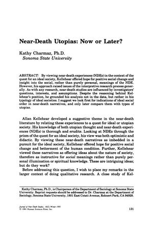 Primary view of object titled 'Near-Death Utopias: Now or Later?'.