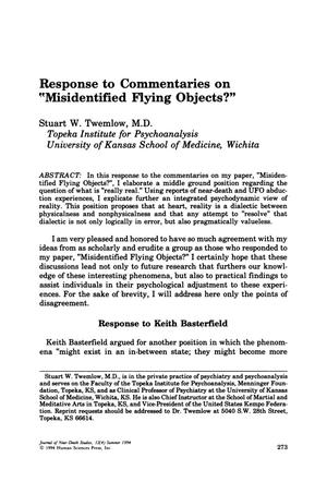 "Primary view of object titled 'Response to Commentaries on ""Misidentified Flying Objects?""'."