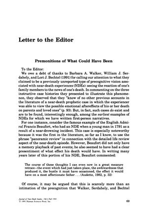 Primary view of object titled 'Letter to the Editor: Premonitions of What Could Have Been'.