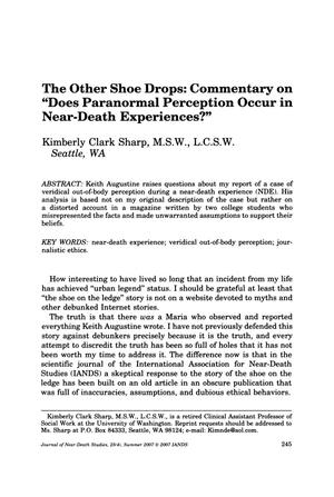 "Primary view of object titled 'The Other Shoe Drops: Commentary on ""Does Paranormal Perception Occur in Near-Death Experiences?""'."