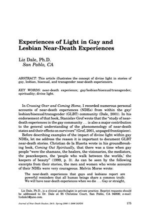 Primary view of object titled 'Experiences of Light in Gay and Lesbian Near-Death Experiences'.