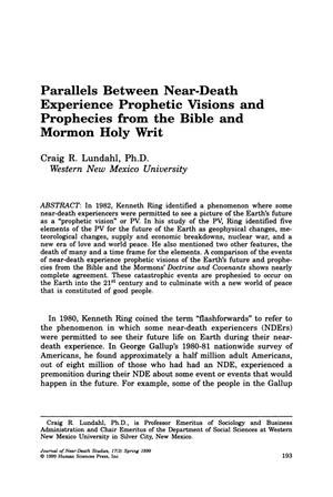 Primary view of object titled 'Parallels Between Near-Death Experience Prophetic Visions and Prophecies from the Bible and Mormon Holy Writ'.