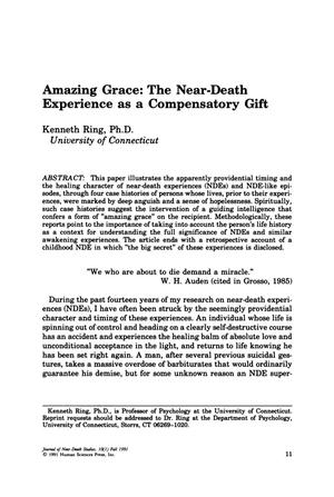 Primary view of object titled 'Amazing Grace: The Near-Death Experience as a Compensatory Gift'.